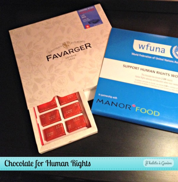 Chocolate for Human Rights: Manor, Favarger and WFUNA in Geneva. Photo credits: J'habite à Genève blog.