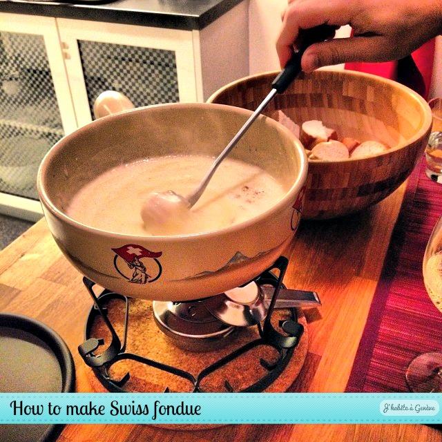 How to make Swiss fondue moitié moitié at home. Photo: J'habite à Genève blog.